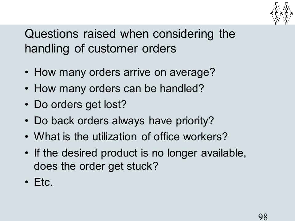 Questions raised when considering the handling of customer orders