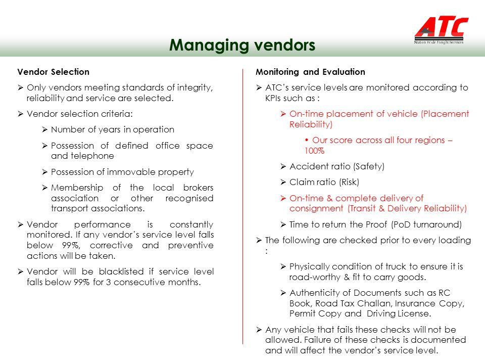 Managing vendors Vendor Selection