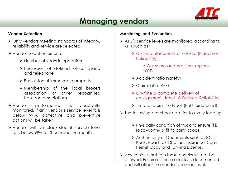 Managing vendors Vendor Selection