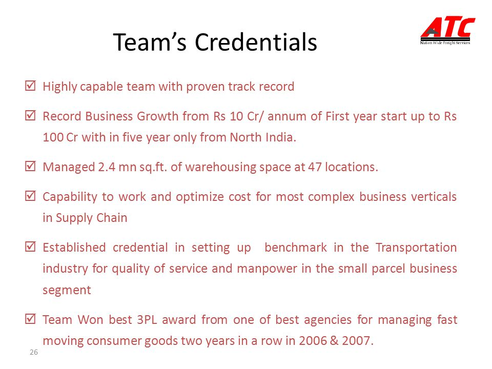 Team's Credentials Highly capable team with proven track record