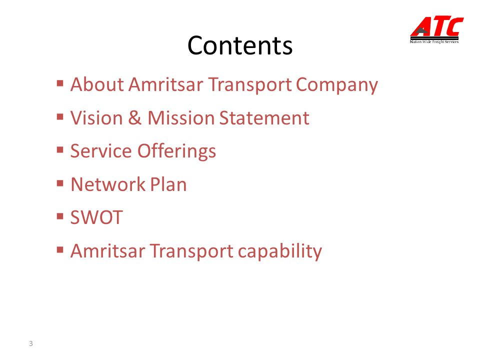 Contents About Amritsar Transport Company Vision & Mission Statement