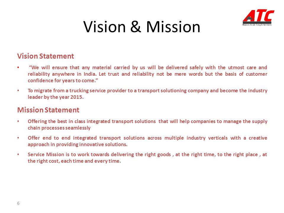 vision and mission statement for huffman trucking company Vision statement the corporate vision of huffman trucking is one as an from web 236 at university of phoenix.