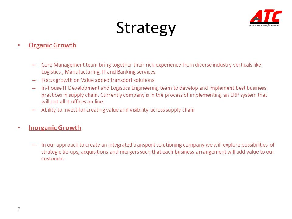 Strategy Organic Growth Inorganic Growth