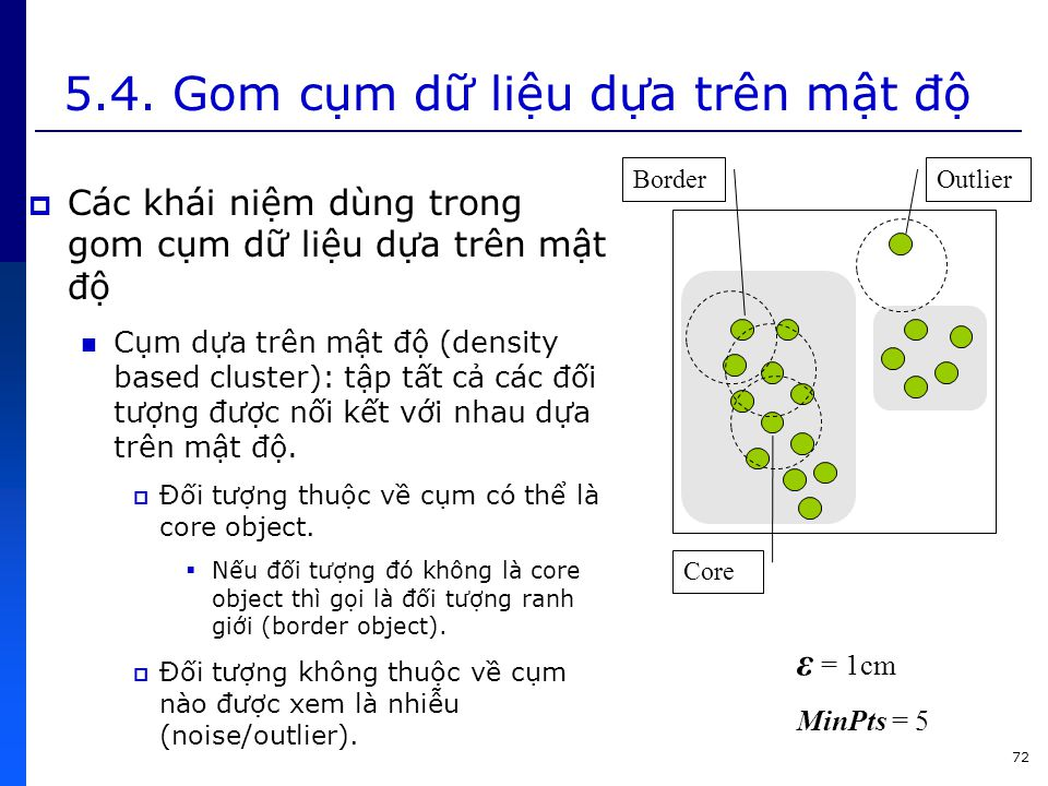 5.4. Gom cụm dữ liệu dựa trên mật độ