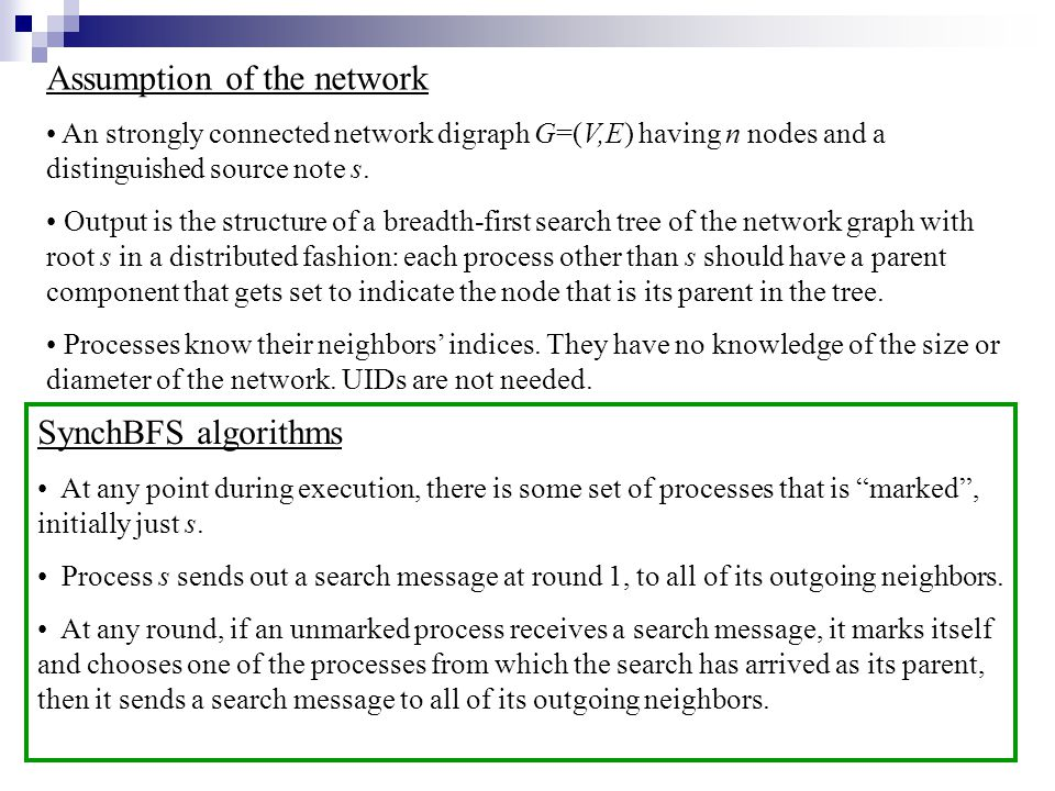 Assumption of the network