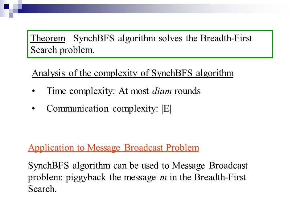 Theorem SynchBFS algorithm solves the Breadth-First Search problem.