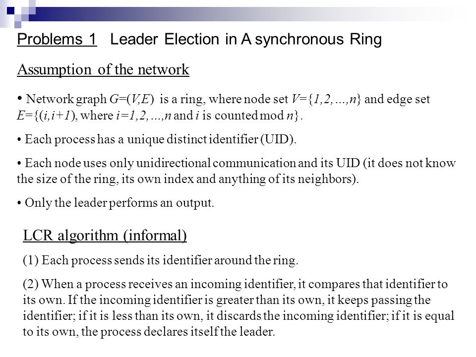 Problems 1 Leader Election in A synchronous Ring