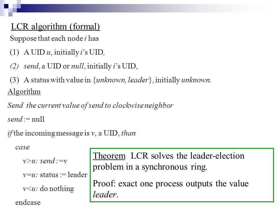 LCR algorithm (formal)