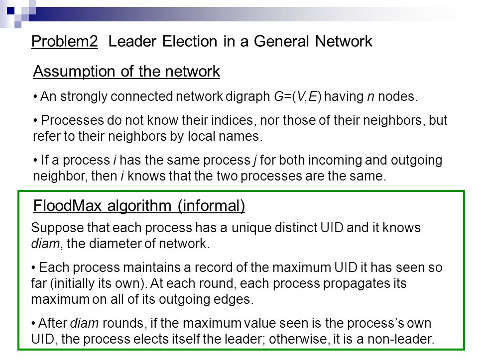 Problem2 Leader Election in a General Network