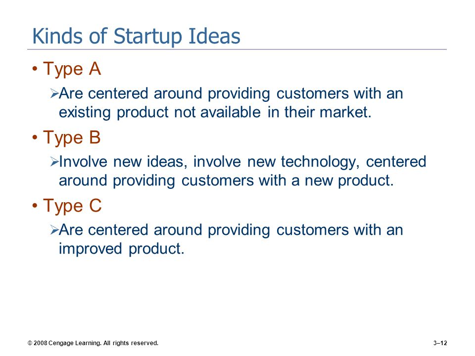 Kinds of Startup Ideas Type A Type B Type C