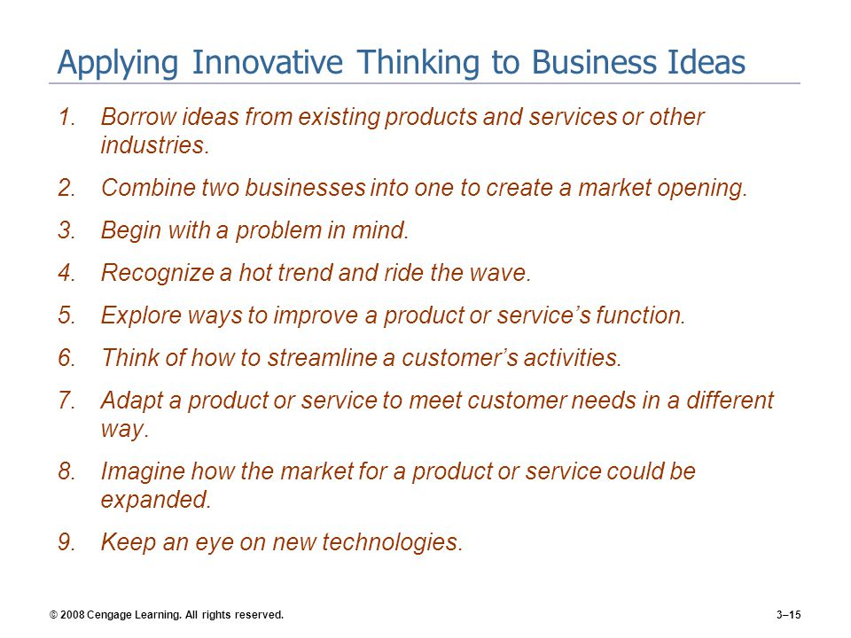 Applying Innovative Thinking to Business Ideas