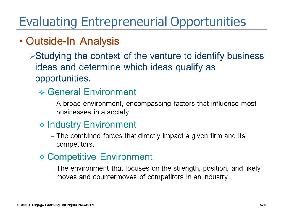 Evaluating Entrepreneurial Opportunities