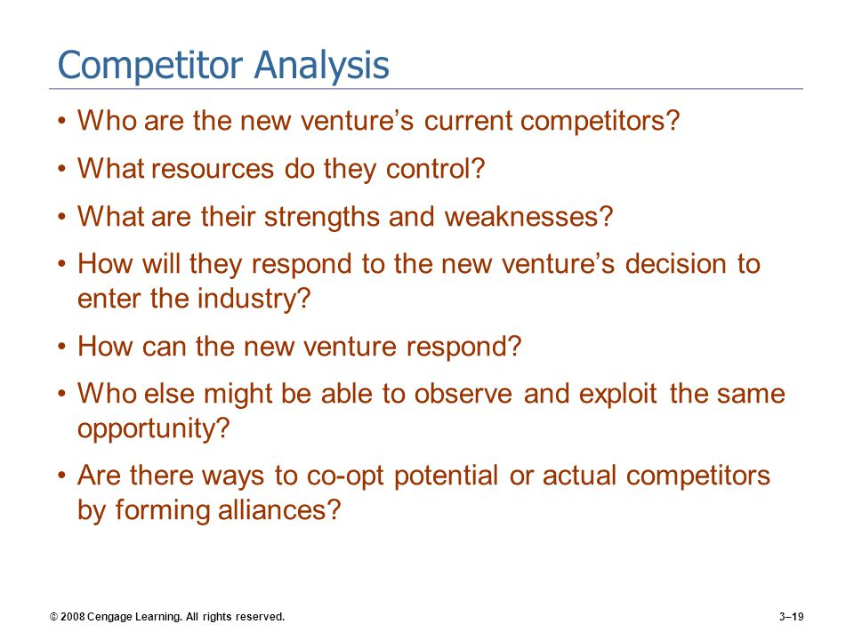 Competitor Analysis Who are the new venture's current competitors