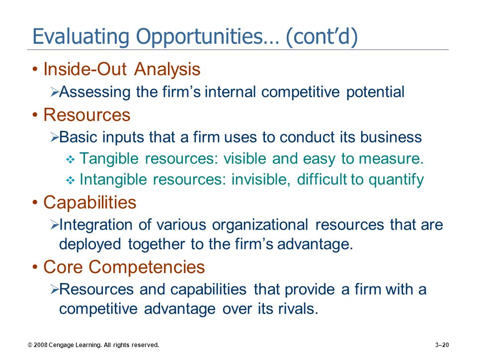 Evaluating Opportunities… (cont'd)