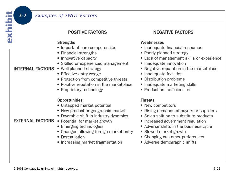 Examples of SWOT Factors