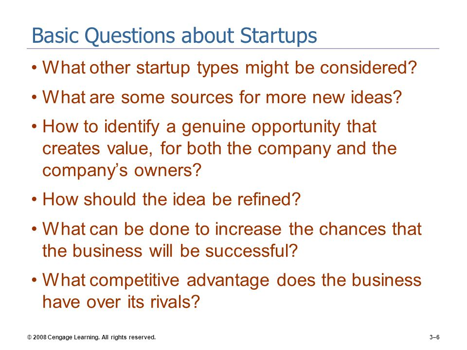 Basic Questions about Startups