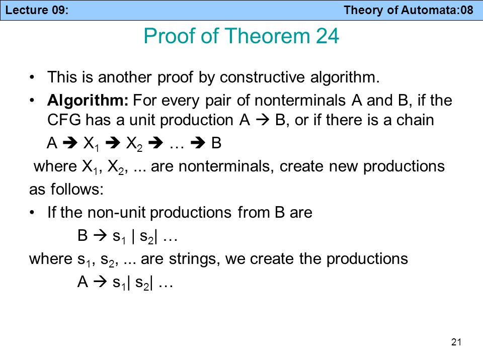Proof of Theorem 24 This is another proof by constructive algorithm.
