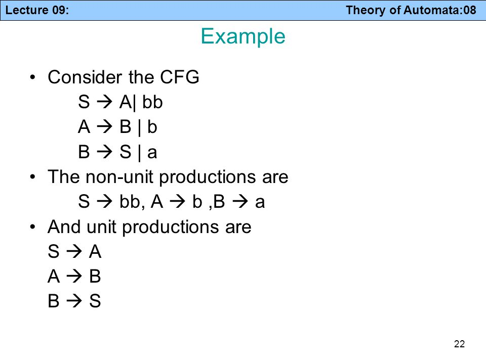 Example Consider the CFG S  A| bb A  B | b B  S | a
