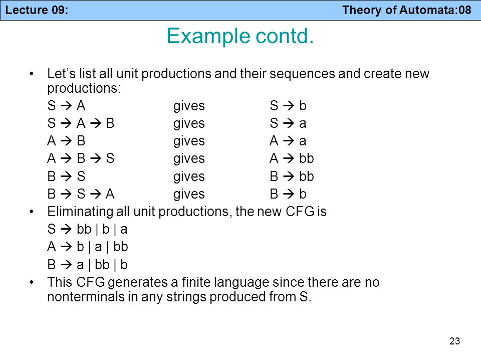 Example contd. Let's list all unit productions and their sequences and create new productions: S  A gives S  b.