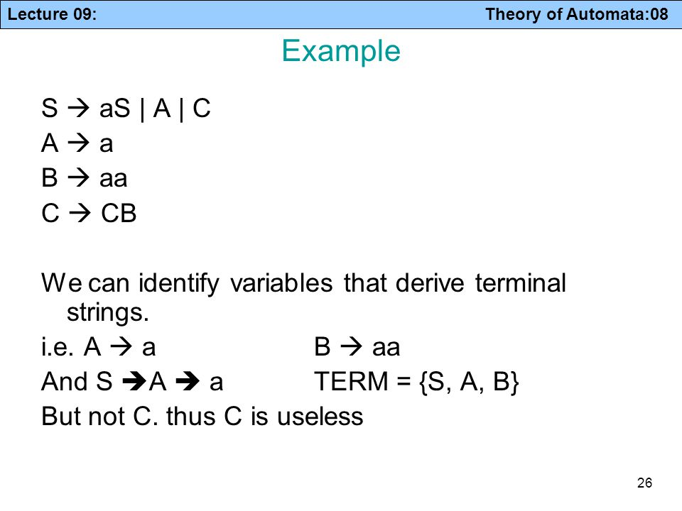 Example S  aS | A | C A  a B  aa C  CB