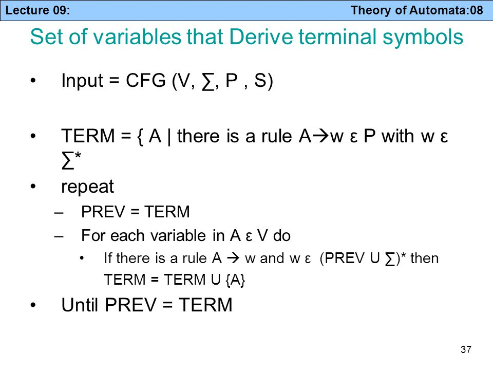Set of variables that Derive terminal symbols