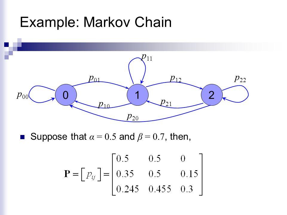 Example: Markov Chain 1 2 p01 p11 p12 p00 p10 p21 p20 p22