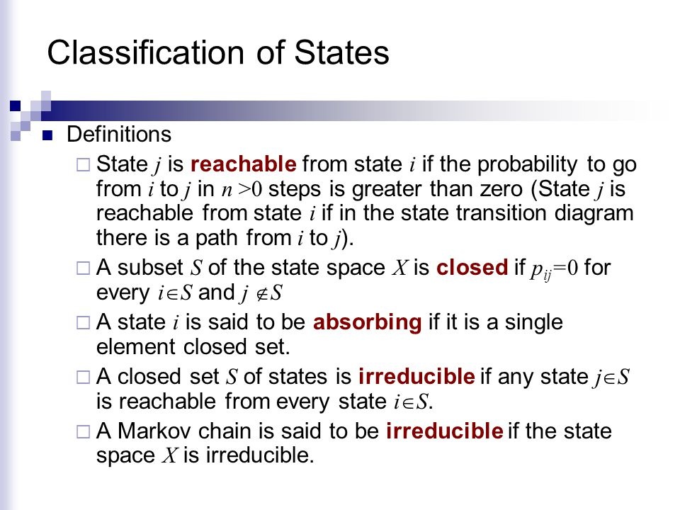 Classification of States