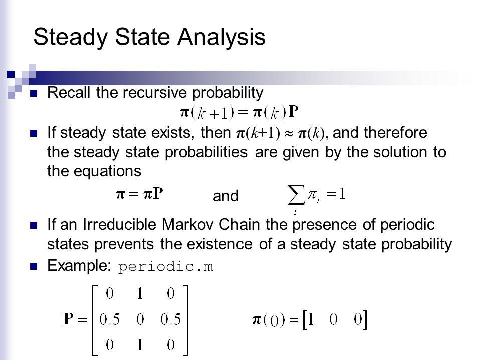Steady State Analysis Recall the recursive probability