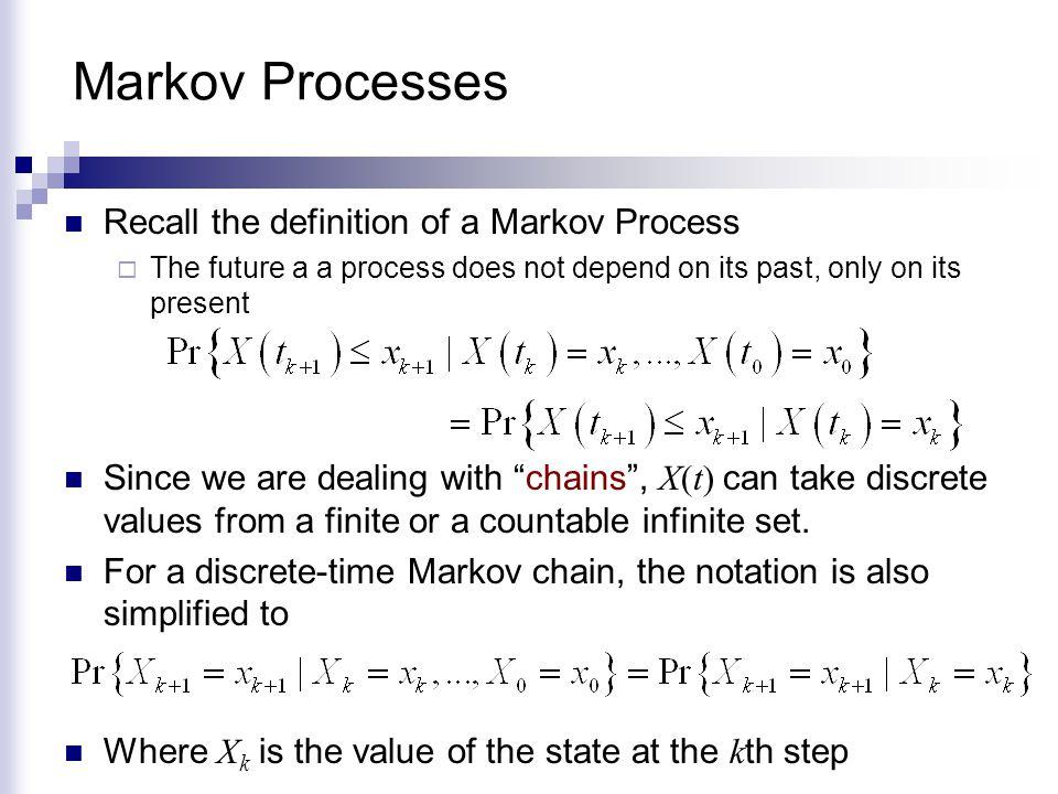 Markov Processes Recall the definition of a Markov Process