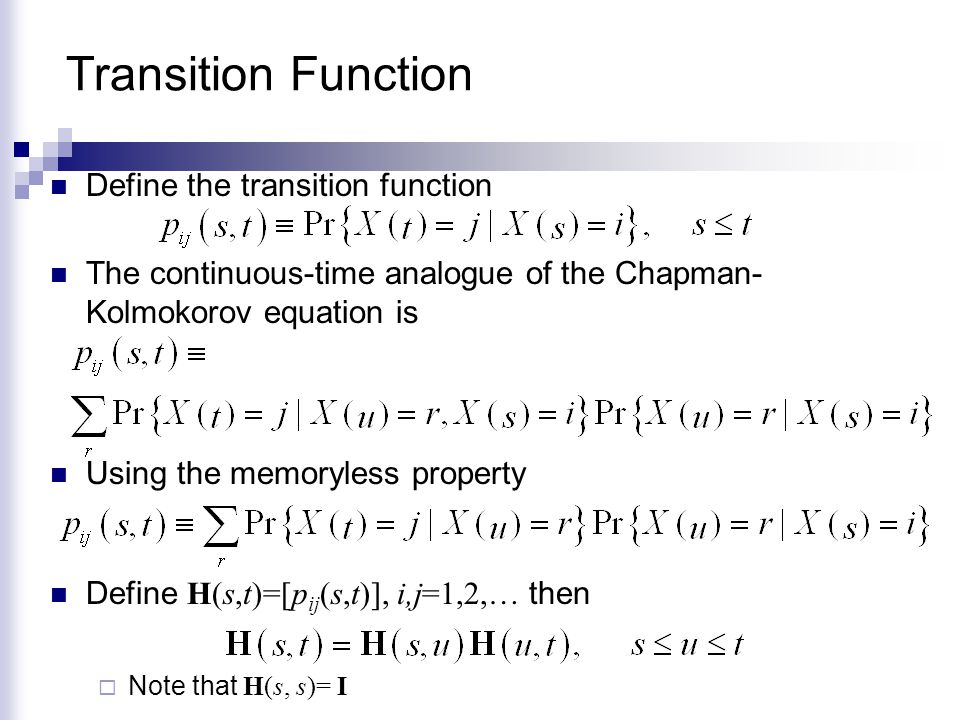 Transition Function Define the transition function
