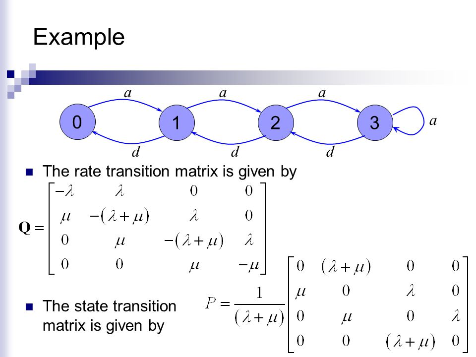 Example 1 2 3 a a a a d d d The rate transition matrix is given by
