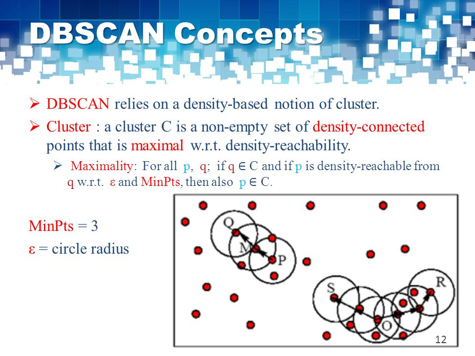 DBSCAN Concepts DBSCAN relies on a density-based notion of cluster.