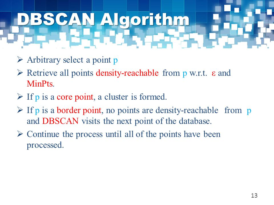 DBSCAN Algorithm Arbitrary select a point p