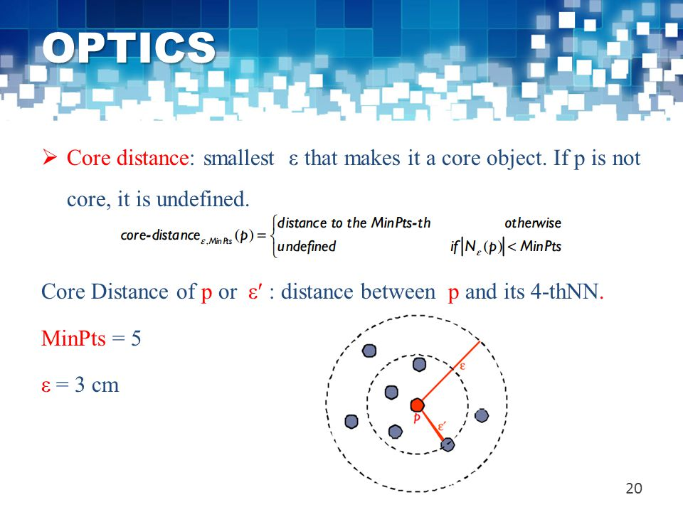 OPTICS Core distance: smallest ε that makes it a core object. If p is not core, it is undefined.