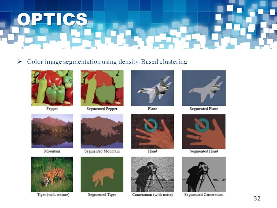 OPTICS Color image segmentation using density-Based clustering