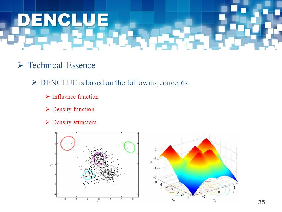 DENCLUE Technical Essence DENCLUE is based on the following concepts: