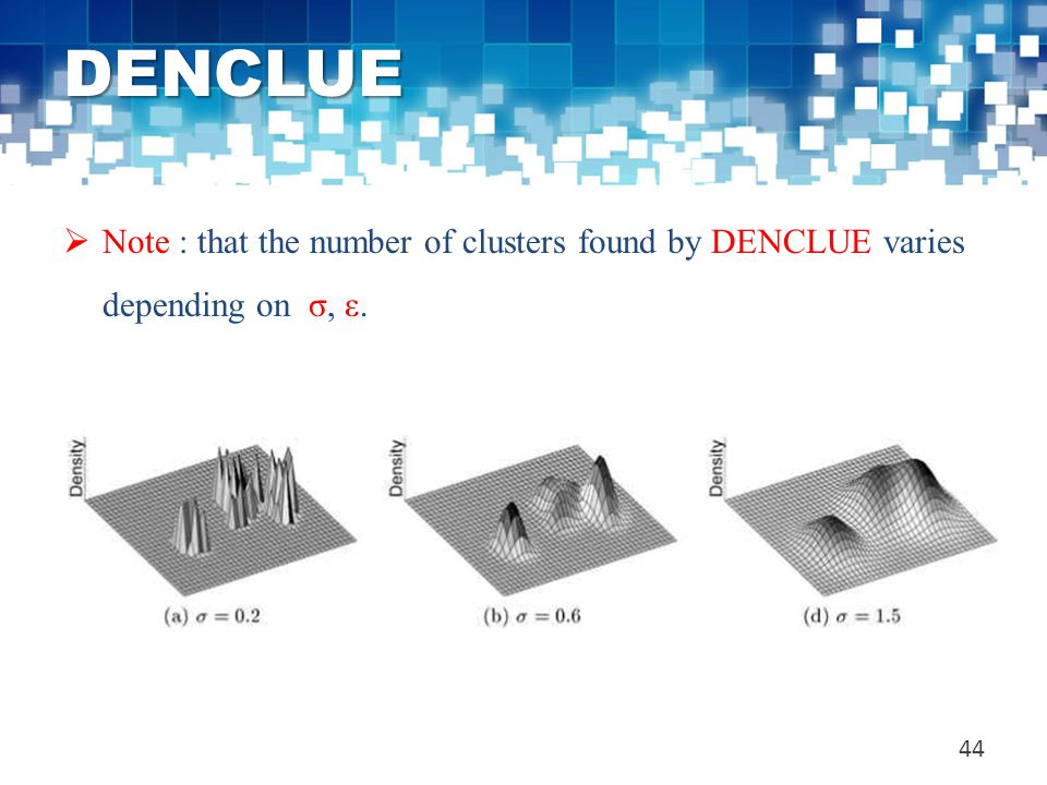 DENCLUE Note : that the number of clusters found by DENCLUE varies depending on σ, ε.