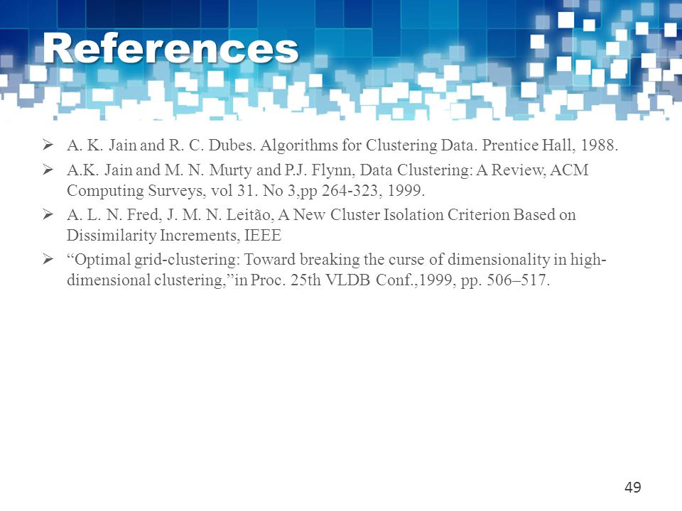 References A. K. Jain and R. C. Dubes. Algorithms for Clustering Data. Prentice Hall, 1988.