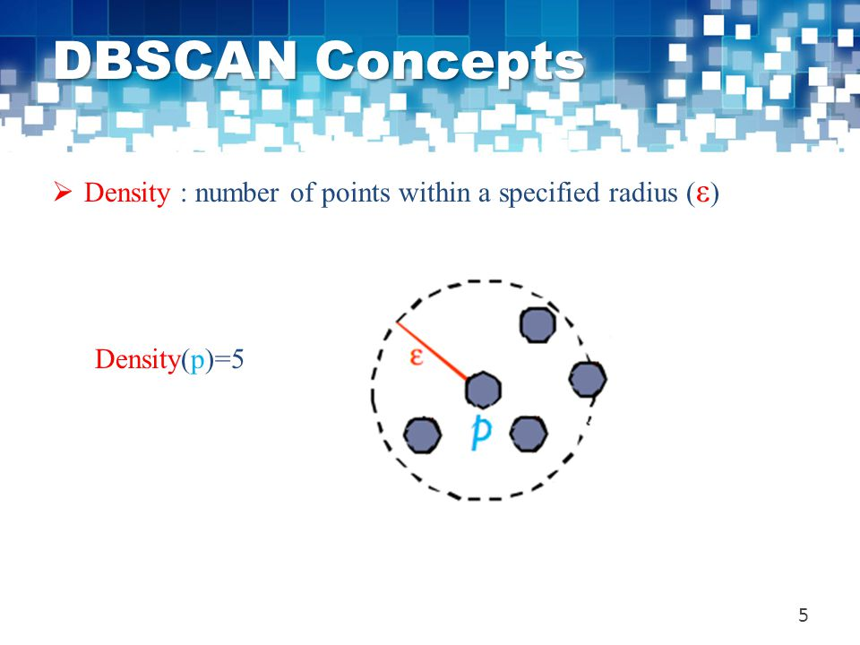 DBSCAN Concepts Density : number of points within a specified radius (ε) Density(p)=5