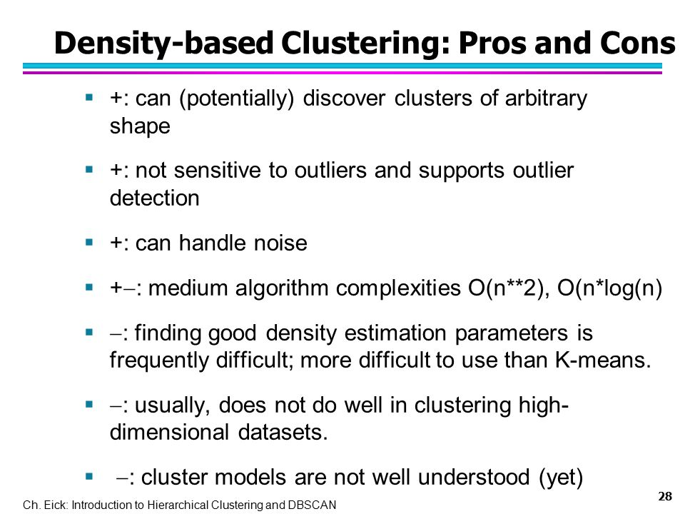 Density-based Clustering: Pros and Cons