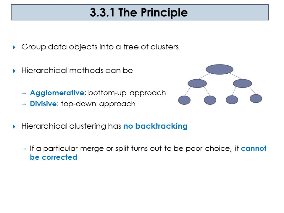 3.3.1 The Principle Group data objects into a tree of clusters