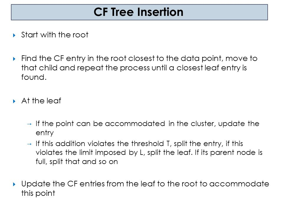 CF Tree Insertion Start with the root