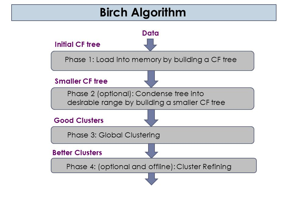 Birch Algorithm Data Initial CF tree