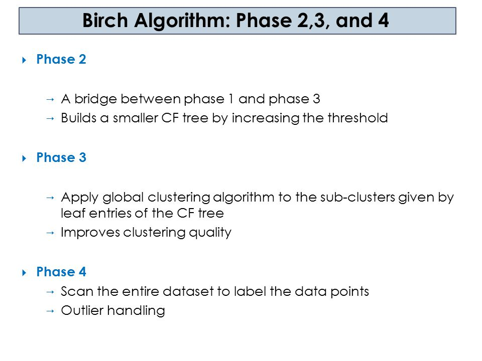 Birch Algorithm: Phase 2,3, and 4