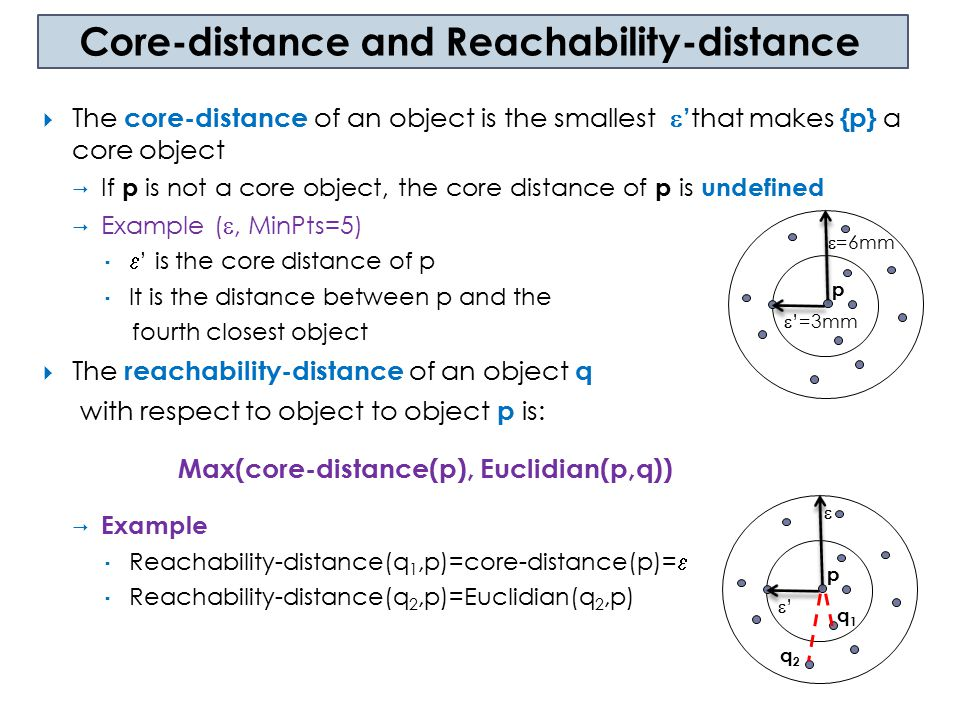 Core-distance and Reachability-distance