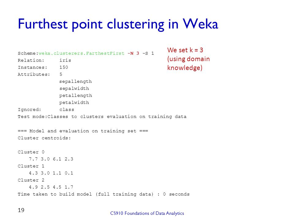 Furthest point clustering in Weka