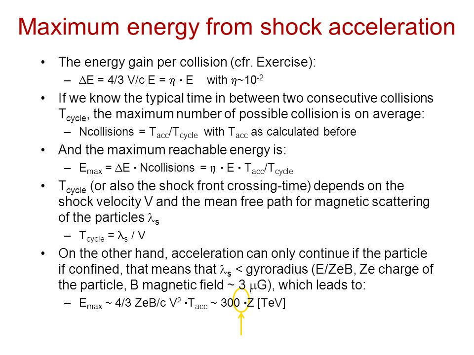 Maximum energy from shock acceleration