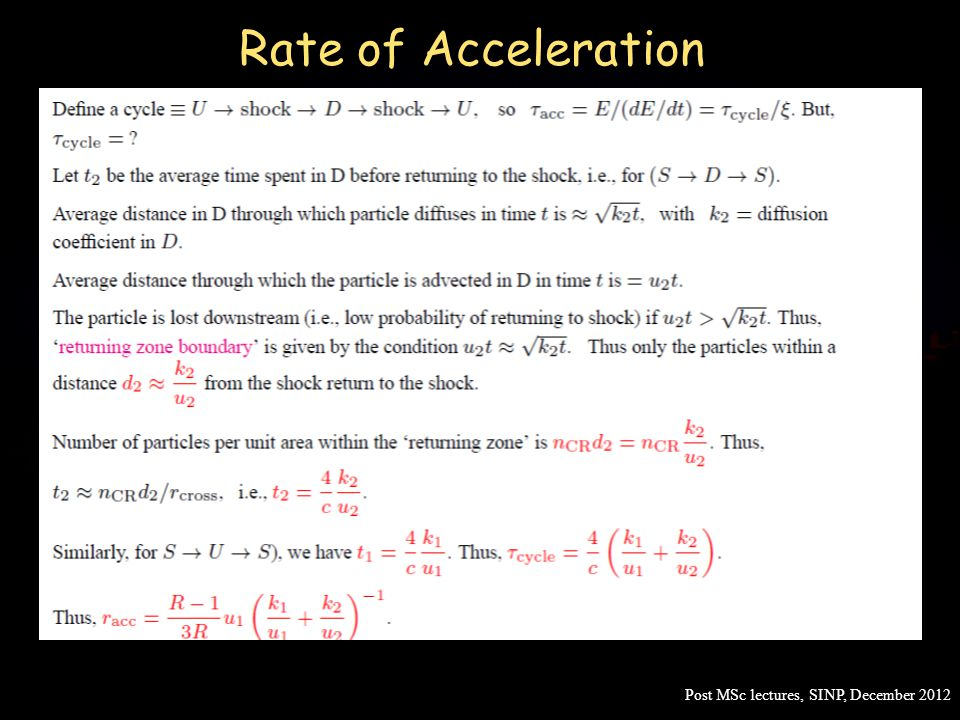 Rate of Acceleration Post MSc lectures, SINP, December 2012