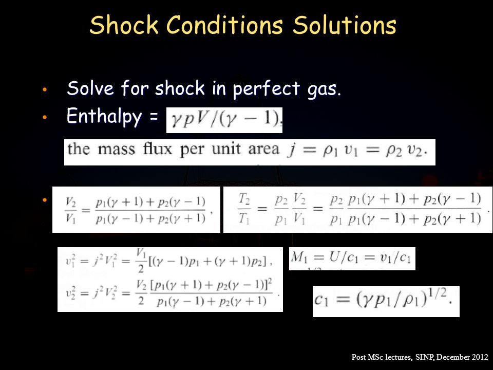 Shock Conditions Solutions