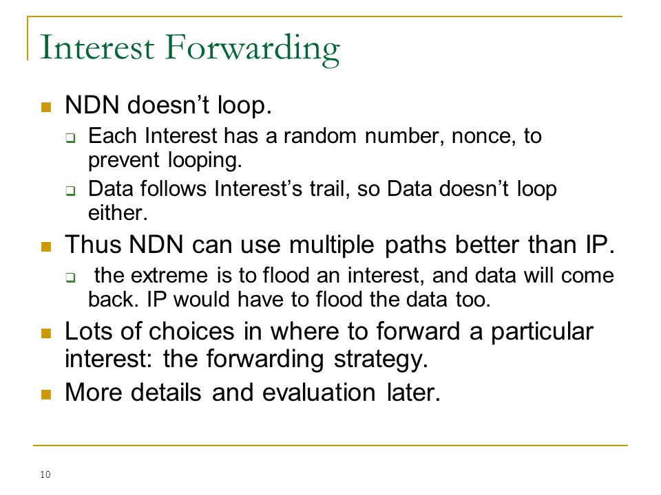 Interest Forwarding NDN doesn't loop.